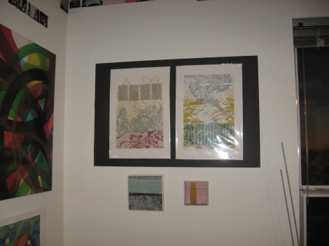 Pam Wesolek prints and Stephanie Lerma encaustic paintings